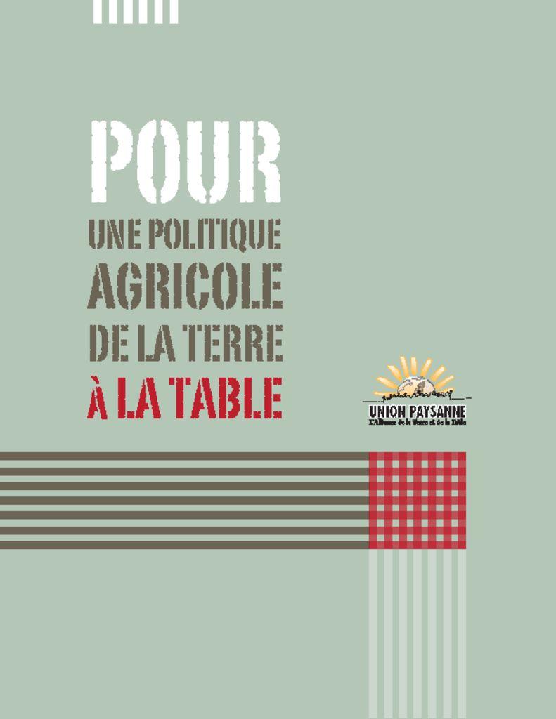 thumbnail of PourUnePolitiqueAgricole