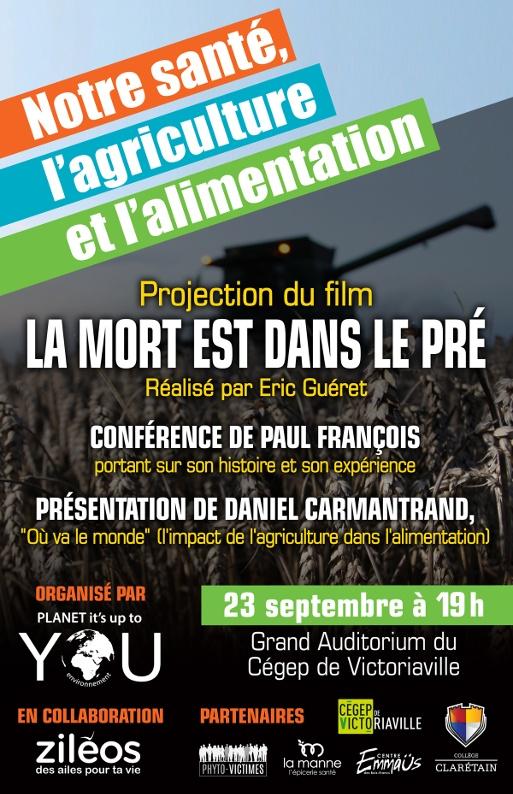 Conférence notre santé, l'agriculture et l'alimentation à Victoriaville
