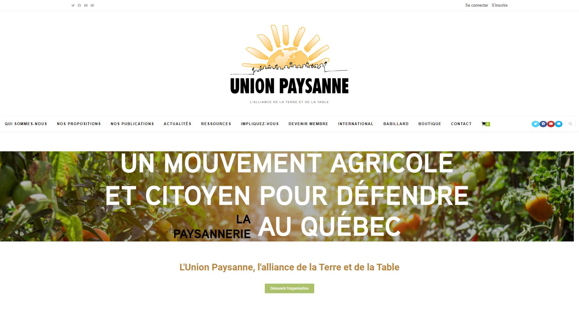 Refonte du site web de l'Union Paysanne